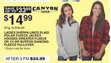 Dunhams Sports Black Friday: Canyon Creek Women's Sherpa Lined Plaid Polar Fleece Jacket, Hooded Sweater Fleece or 1/4-zip Button Diamond Fleece Pullover for $14.99