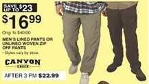 Dunhams Sports Black Friday: Canyon Creek Men's Lined Pants or Unlined Woven Zip Off Pants for $16.99