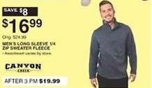 Dunhams Sports Black Friday: Canyon Creek Men's Long Sleeve 1/4-zip Sweater Fleece for $16.99