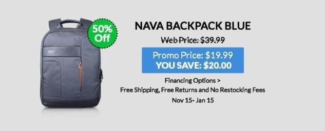 Lenovo Black Friday: Nava Backpack (Blue) for $19.99