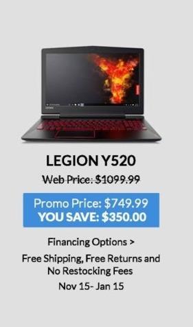 Lenovo Black Friday: Lenovo Legion Y520 for $749.99
