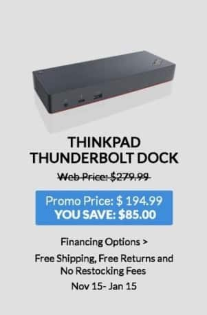 Lenovo Black Friday: Lenovo Thinkpad Thunderbolt Dock for $194.99