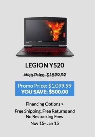 Lenovo Black Friday: Lenovo Legion Y520 for $1,099.99