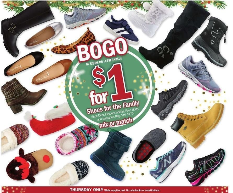 Meijer Black Friday: Shoes for the Family, Mix or Match - B1G1 for $1.00