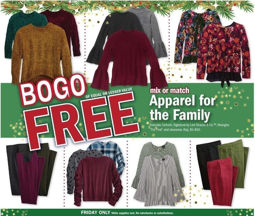 Meijer Black Friday: Apparel for the Family Mix and Match - B1G1 Free
