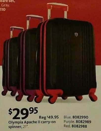 AAFES Black Friday: Olympia Apache II Carry-On Spinner for $29.95