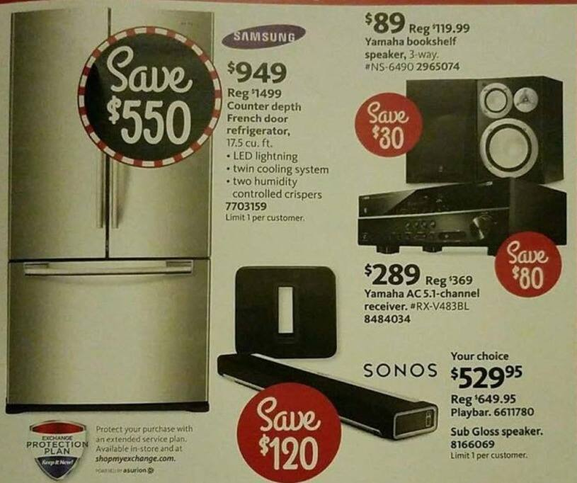 AAFES Black Friday: Samsung Counter Depth French Door Refrigerator for $949.00