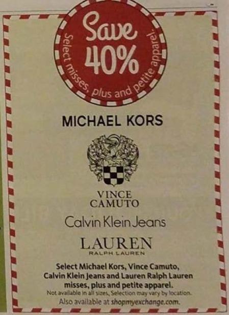 AAFES Black Friday: Select Michael Kors, Vince Camuto, Calvin Klein Jeans and Lauren Ralph Lauren Misses, Plus and Petite Apparel - 40% Off