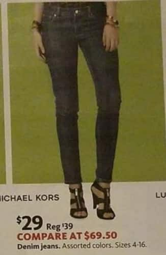 AAFES Black Friday: Michael Kors Denim Jeans for $29.00
