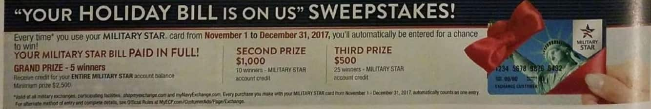 "AAFES Black Friday: ""Your Holiday Bill is On Us"" Sweepstakes - Free w/Card"