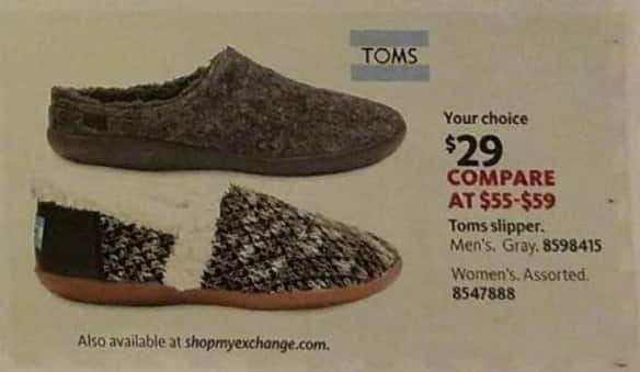 AAFES Black Friday: Men's or Women's Toms Slipper for $29.00