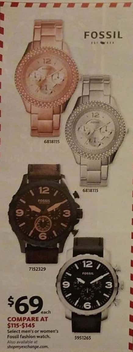 AAFES Black Friday: Select Men's or Women's Fossil Fashion Watch for $69.00