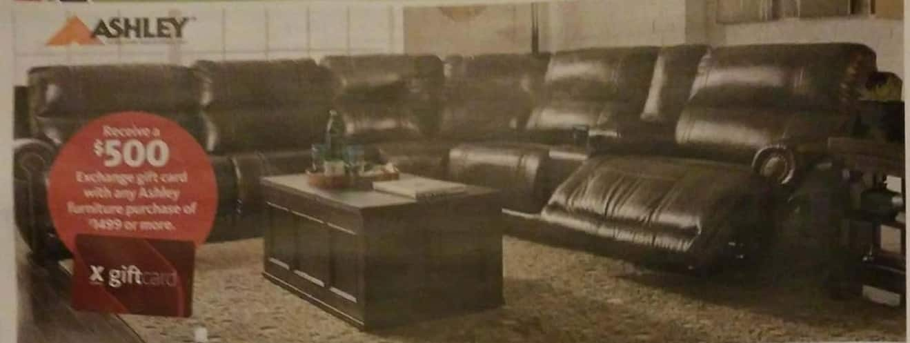 AAFES Black Friday: Any Ashley Furniture + $500 Exchange Gift Card - $1499+