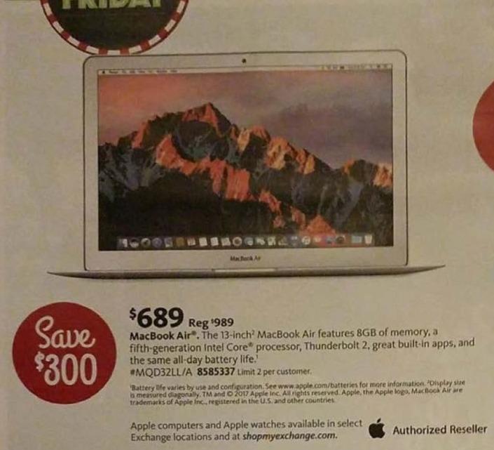 "AAFES Black Friday: Macbook Air 13"": 8GB, Intel Core (5th Gen) for $689.00"
