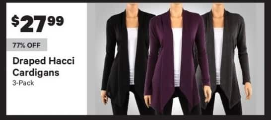 Groupon Black Friday: Draped Hacci Women's Cardigan 3-Pack for $27.99