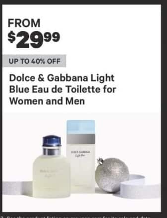 Groupon Black Friday: Dolce & Gabbana Light Blue Eau de Toilette for Women and Men - From $29.99