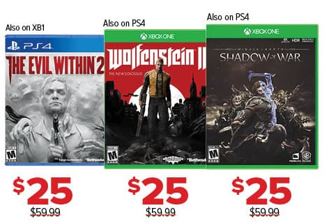 GameStop Black Friday: The Evil Within 2, Wolfenstein II and Shadow of War, Each for $25.00