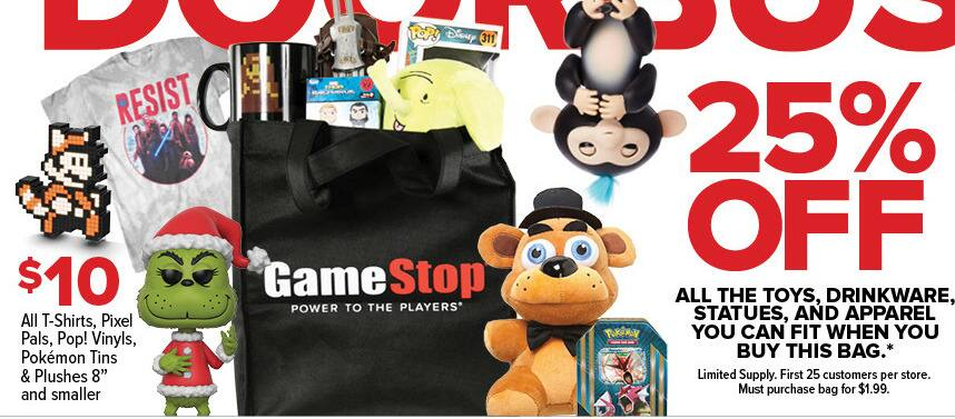 """GameStop Black Friday: All T-Shirts, Pixel Pals, Pop! Vinyls, Pokemon Tins and Plushes 8"""" and Smaller for $10.00"""