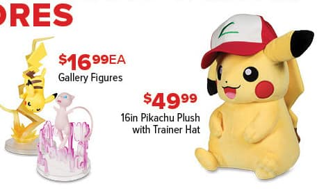 "GameStop Black Friday: 16"" Pikachu Plush with Trainer Hat for $49.99"