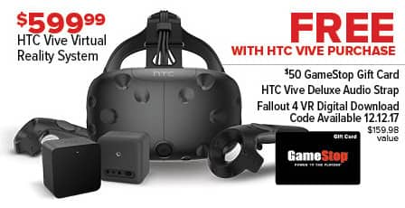 GameStop Black Friday: HTC Vive Virtual Reality System + $50 Gamestop Gift Card, HTC Vive Deluxe Audio Strap and Fallout 4 VR Digital Download Code for $599.99
