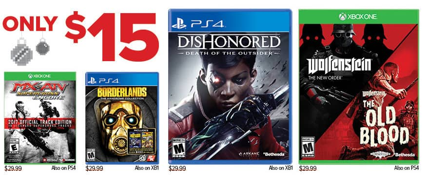 GameStop Black Friday: Dishonored: Death of the Outsider and Select Games, Each for $15.00