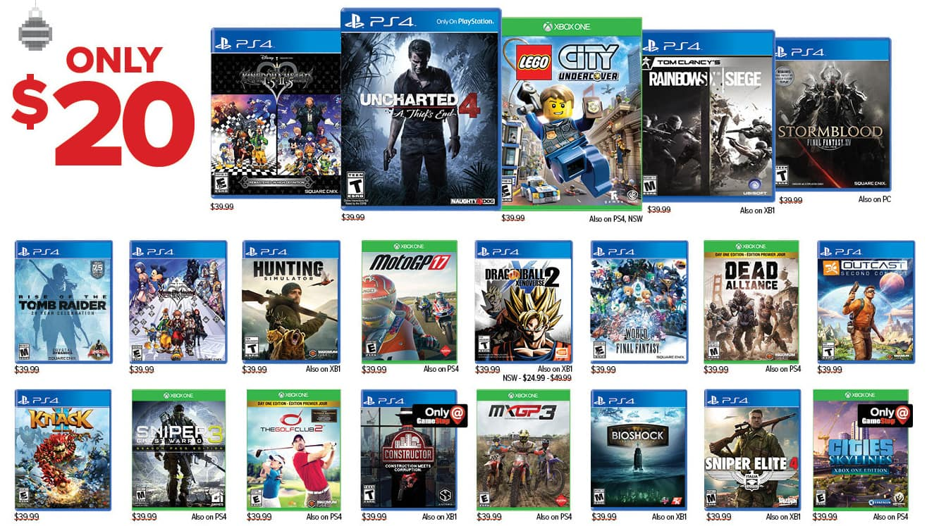 GameStop Black Friday: Select Video Games: Uncharted 4: A Thief's End, Rise of the Tomb Raider and More, Each for $20.00