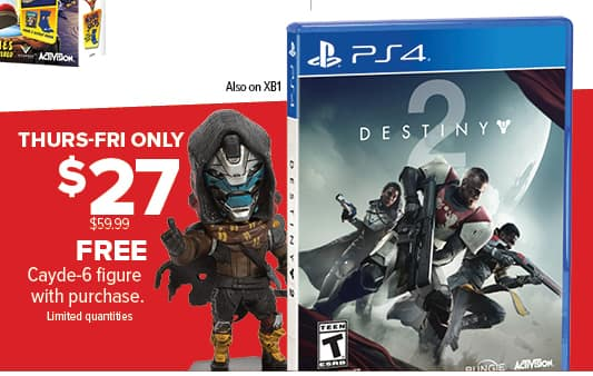 GameStop Black Friday: Destiny 2 (Xbox One/PS4) + Cayde-6 Figure for $27.00