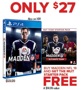 GameStop Black Friday: Madden NFL 18 (Xbox One/PS4) + Mut Starter Pack for $27.00