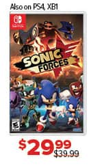 GameStop Black Friday: Sonic Forces (Switch/PS4/XBox One) for $29.99