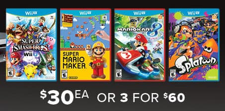 GameStop Black Friday: (3) Select Wii U Games (Pre-Owned) for $60.00