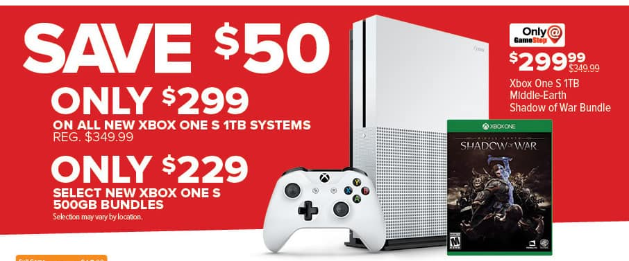 GameStop Black Friday: New Xbox One S 500GB Bundles, Select Styles for $229.00