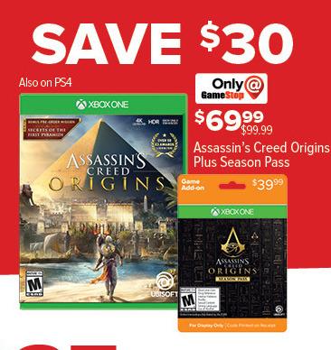 GameStop Black Friday: Assassin's Creed Origins + Season Pass for $69.99
