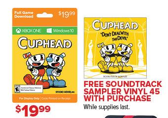 GameStop Black Friday: Cuphead (Xbox One) + Free Soundtrack Sampler Vinyl 45 for $19.99