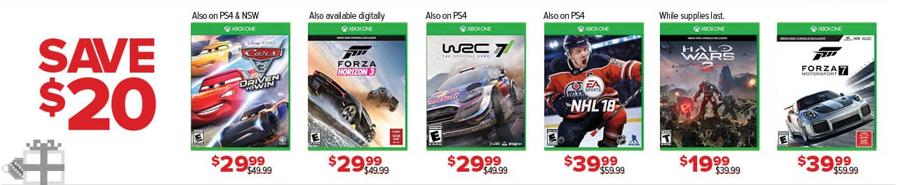 GameStop Black Friday: Select Games: Cars 3, Forza Horizon 3, WRC 7, NHL 18, Halo Wars 2 and More - $20 Off