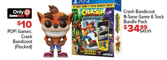 GameStop Black Friday: Pop! Games Crash Bandicoot (Flocked) for $10.00