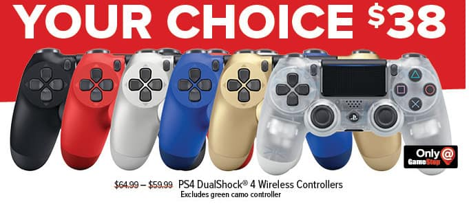 GameStop Black Friday: PS4 DualShock 4 Wireless Controller, Select Styles for $38.00