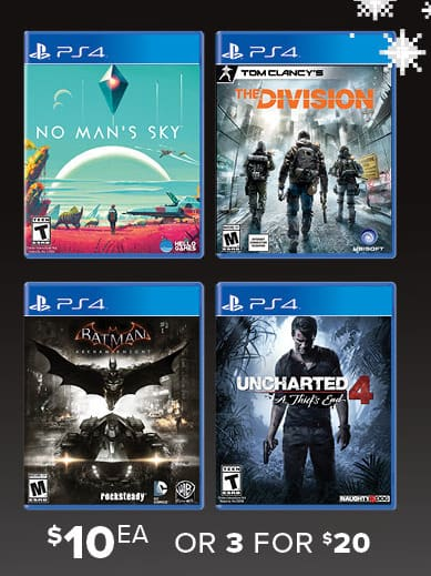 GameStop Black Friday: (3) Select Pre-Owned Games: Uncharted 4, The Division, No Man's Sky, Batman Arkham Knight for $20.00