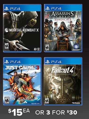 GameStop Black Friday: (3) Select Pre-Owned Games: Fallout 4, Mortal Kombat X, Assassin's Creed Syncicate, Just Cause 3 for $30.00