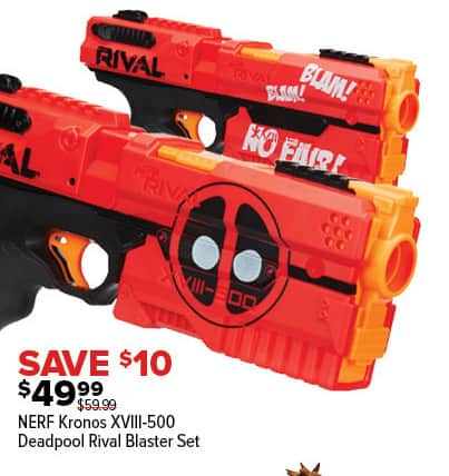 GameStop Black Friday: Nerf Kronos XVIII 500 Deadpool Rival Blaster Set for  $49.99