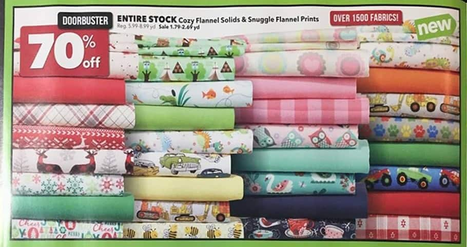 Joann Black Friday: Entire Stock of Cozy Flannel Solids & Snuggle Flannel Prints - 70% Off