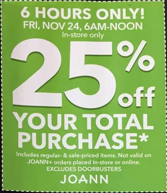 Joann Black Friday: Total Purchase - 25% OFF
