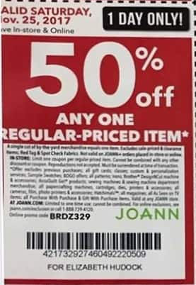Joann Black Friday: Any One Regular-Priced Item (Friday Only) - 50% OFF