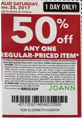 Joann Black Friday: Any One Regular-Priced Item (Saturday Only) - 50% Off