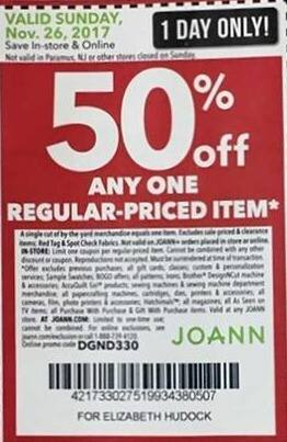 Joann Black Friday: Any One Regular-Priced Item (Sunday Only) - 50% Off