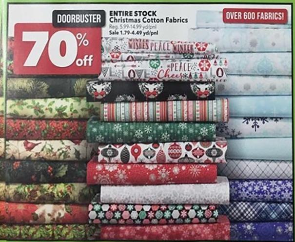 Joann Black Friday: Entire Stock Christmas Cotton Fabrics - 70% Off