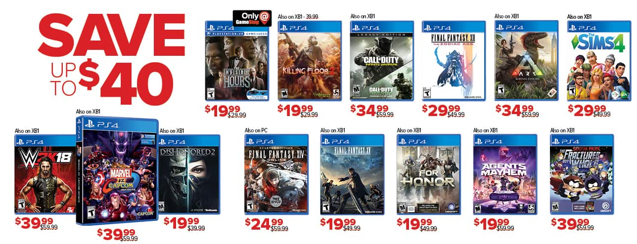 GameStop Black Friday: Select Games: Dishonored 2, For Honor and More - Up to $40 Off