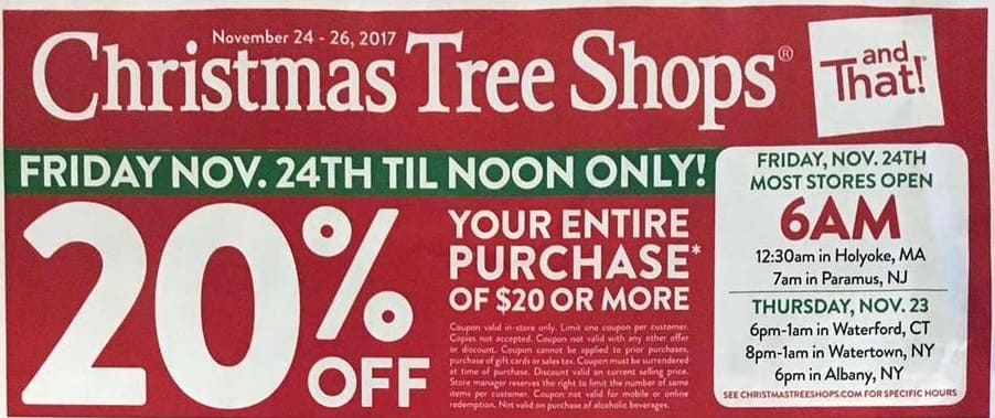 Christmas Tree Shops Black Friday: Entire Purchase of $20+ - 20% Off ...