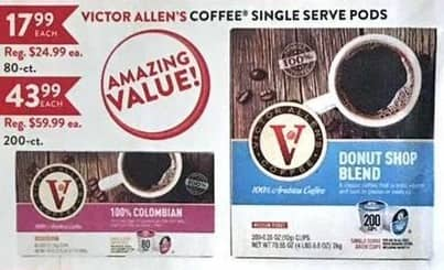 Christmas Tree Shops Black Friday: Victor Allen's Coffee Single Serve Pods (80-ct. and 200-ct.) for $17.99 - $43.99