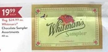 Christmas Tree Shops Black Friday: Whitman's Chocolate Sampler Assortments for $19.99