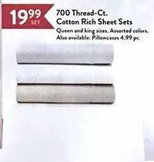 Christmas Tree Shops Black Friday: 700 Thread-Ct. Cotton Rich Sheet Sets for $19.99